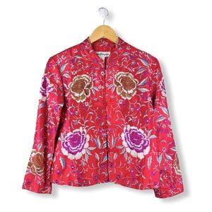 Pink Dupioni Silk Embroidered Blazer Size Small